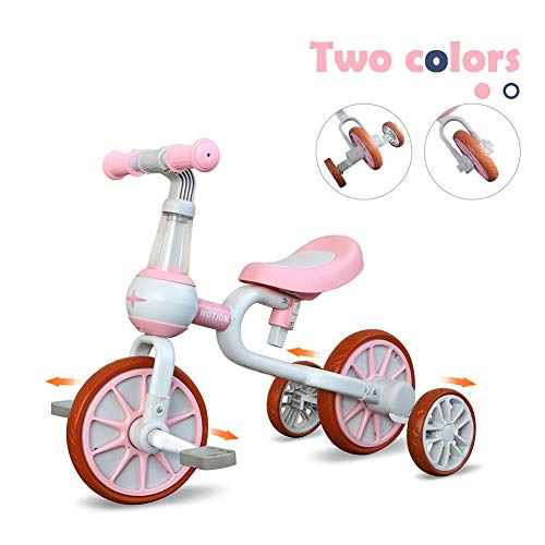 3 In 1 Baby Balance Bike For 1 4 Years Old Kids With Detachable Pedal And Training Wheels | Toys For 2 Year Old Boys Girls | Infant Toddler Bicycle Best First Birthday New Year Pink
