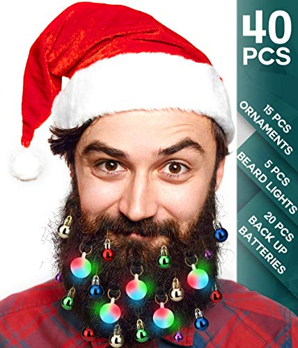 40pcs Christmas Beard Lights Ornamentsglitter Kit2019with Jewelry Baubles Beads, Bells, Light Up Bulbs, Best Gifts For Men Womenkidshair Decoration, Funny Ugly Xmas Sweater Party Accessories