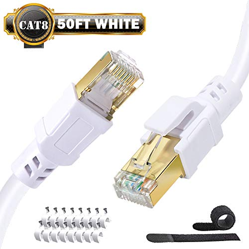 50ft Ethernet Cable Cat 8 High Speed Shielded Network Gigabit Internet Cables 2000mhz 40gb Sstp Patch Cord Wire With Gold Rj45 Connector Best Cat8 Lan Cables For Gaming,ps4,xbox,smart Office White