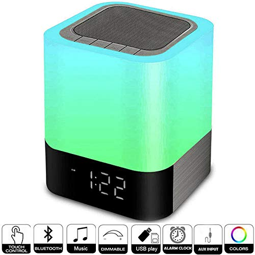 Alarm Clocks For Bedrooms, Hetyre Wireless Bluetooth Speaker With Night Light Bedside Lamp, 4000mah Portable Mp3 Player, Support Tf And Sd Card, Best For Kids Party