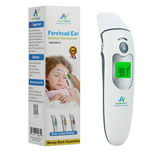 Amplim Forehead/ear Thermometer + Pouch For Adults And Baby. Hospital Medical Grade Digital Infrared Thermometer Best For Head Fever Temperatures. Quad Mode Forehead/ear/object/baby Thermometer