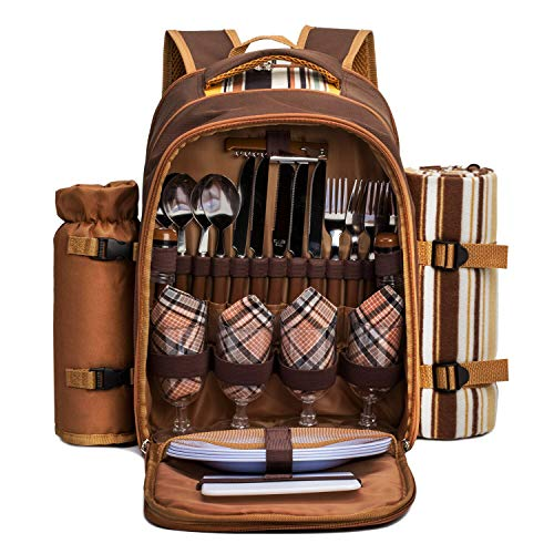 """Apollo Walker Picnic Backpack Bag For 4 Person With Cooler Compartment,wine Bag, Picnic Blanket(45""""x53""""),best For Family And Lovers Gifts (brown)"""