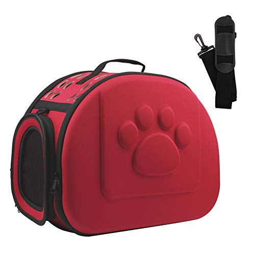 Aritan Pet Travel Carrier, Soft Sided Collapsible Portable Eva Cat Bag With Mesh Windows, Porous Design, Best For Small Or Medium Dog And Cat (large, Red)