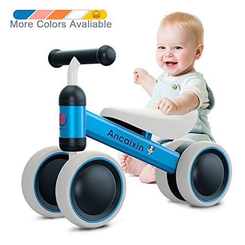 Baby Balance Bikes 10 24 Month Children Walker | Toys For 1 Year Old Boys Girls | No Pedal Infant 4 Wheels Toddler Bicycle | Best First Birthday New Year Holiday Blue