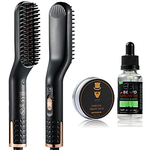 Beard Straightener For Men, Upgraded Hair Straightener Brush, Quick Electric Hot Heated Beard Straightener Comb With Free Beard Growth Oil And Beard Balm Kit For Travel, Best Gifts For Men Women