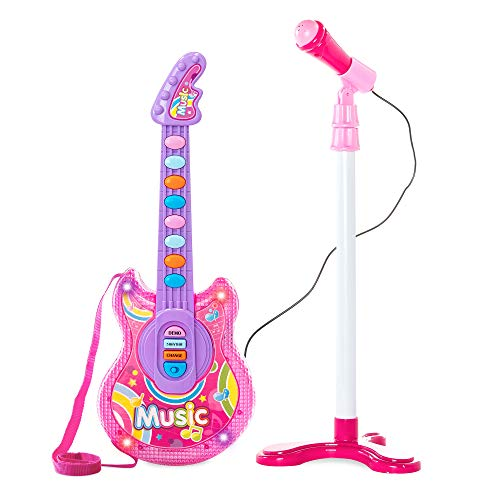 Best Choice Products 19in Kids Toddlers Flash Guitar Pretend Musical Instrument Toy W/ Mic, Mp3 Compatible Pink