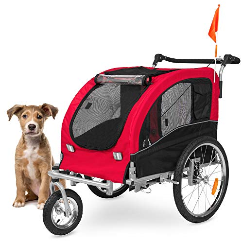 Best Choice Products 2 In 1 Pet Stroller And Trailer W/hitch, Suspension, Safety Flag, And Reflectors