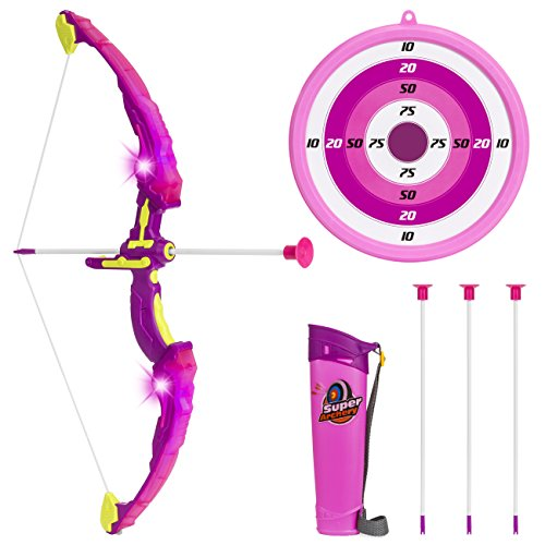 Best Choice Products 24in Light Up Kids Archery Toy Play Set W/ 3 Light Modes, Suction Arrows, Quiver, Target Pink