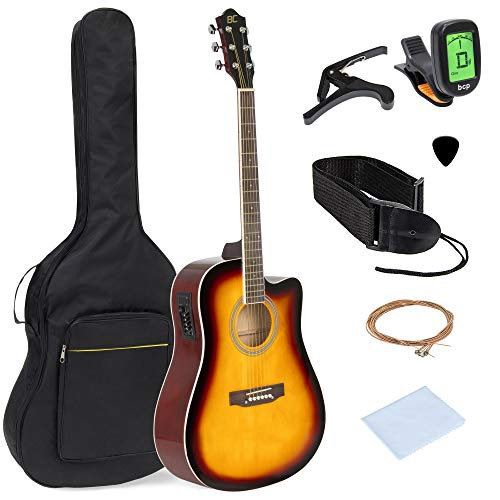 Best Choice Products 41in Full Size Acoustic Electric Cutaway Guitar Set W/capo, E Tuner, Bag, Picks, Strap Sunburst