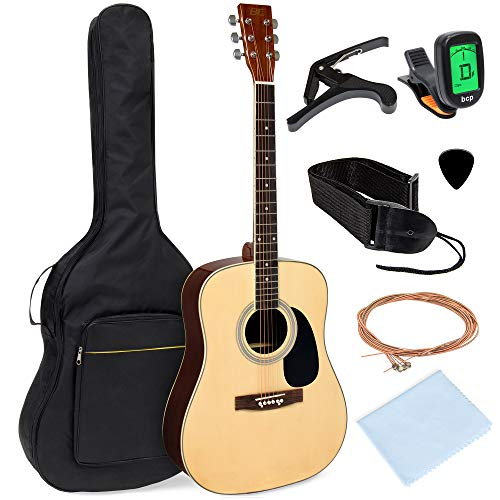 Best Choice Products 41in Full Size All Wood Acoustic Guitar Starter Kit W/gig Bag, E Tuner, Pick, Strap, Rag Natural