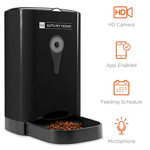 Best Choice Products 4.5l Smart Automatic Pet Feeder W/hd Camera, Smartphone App, Portion Control, 2 Way Audio Black