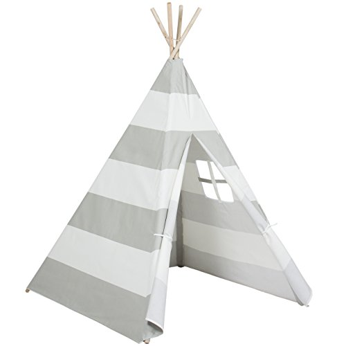 Best Choice Products 6ft Kids Cotton Canvas Teepee Playhouse Sleeping Dome Play Tent W/ Carrying Bag White/gray