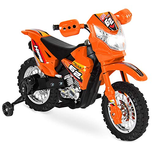 Best Choice Products 6v Kids Electric Battery Powered Ride On Motorcycle W/ Training Wheels, Lights, Music, 2mph Max