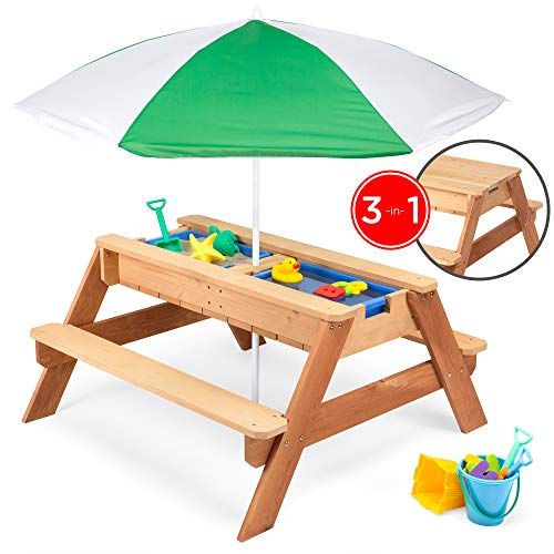 Best Choice Products Kids 3 In 1 Outdoor Convertible Wood Activity Sand & Water Picnic Table W/ Umbrella, 2 Play Boxes