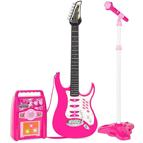 Best Choice Products Kids Electric Musical Guitar Toy Play Set W/ 6 Demo Songs, Whammy Bar, Microphone, Amp, Aux Pink