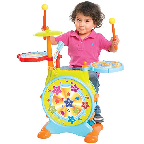 Best Choice Products Kids Electronic Toy Drum Set W/ Adjustable Sing Along, Microphone, Stool, Drumsticks
