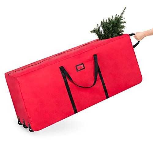 Best Choice Products Rolling Duffle Holiday Decoration Storage Bag For 9ft Christmas Tree W/wheels, Handle Red