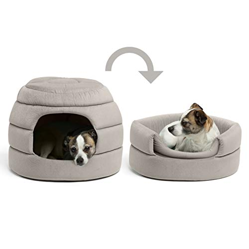 Best Friends By Sheri Convertible Honeycomb Cave Bed, Cozy Covered Dog & Cat Tent Great For Your Small Pet & Puppy, Easily Convert Into Round Open Cuddler Removable Insert + Machine Washable