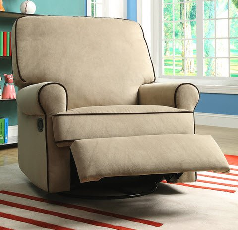 Best Home Chloe Sand Fabric Nursery Swivel Glider Living Room Recliner Chair