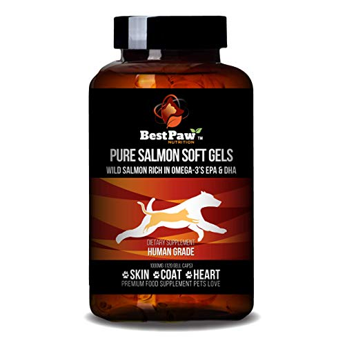 Best Paw Nutrition Pure Salmon Soft Gels For Dogs & Cats Omega 3 Capsules Supplement Skin & Coat, Eyes, Heart Health Immune Support Vitamins Pets Love 1000mg