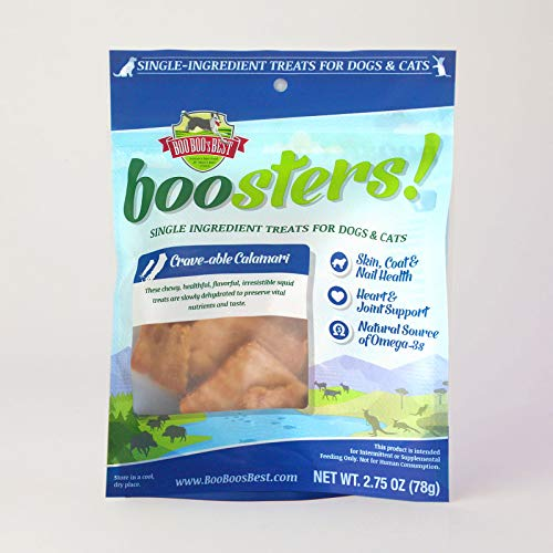 Boo Boo's Best Boosters! Crave Able Calamari Single Ingredient Dehydrated Treat For Dogs And Cats, 2.5 Oz