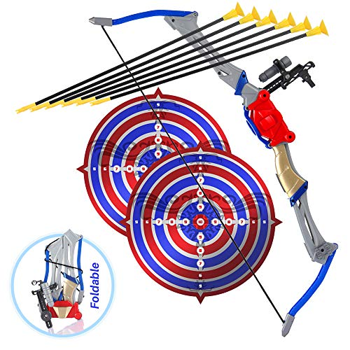 Bow And Arrow Toy For Kids, Outdoor Archery Set For Boys And Girls Age 6 12 Years Old, Foldable Design With 2 Targets And 6 Suction Cup Arrows, Best For Hunting Play And Sports And Adventure Games