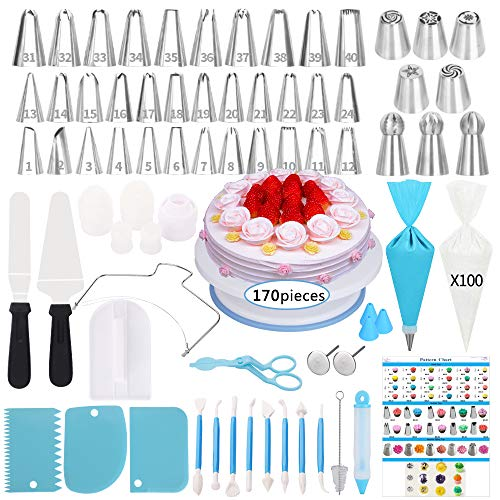 Cake Decorating Supplies Kit,170 Pcs Baking Supplies Set With Icing Piping Tips & Russian Nozzles With Pattern Chart, Rotating Turntable Stand, Frosting, Piping Bags Best mother's Day gifts