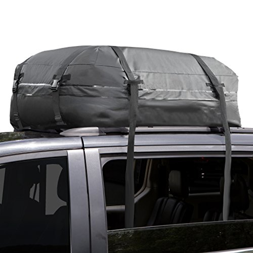 Cargo Roof Bag 100% Waterproof – No Racks Needed – Easy To Install Soft Rooftop Luggage Carriers With Wide Straps –folds Easily Best For Traveling, Cars, Vans, Suvs (black 15 Cubic Feet)