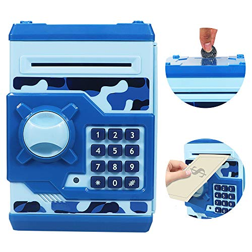 Cargooy Mini Atm Piggy Bank Atm Machine Best Gift For Kids,electronic Code Piggy Bank Money Counter Safe Box Coin Bank For Boys Girls Password Lock Case (camouflage Blue)