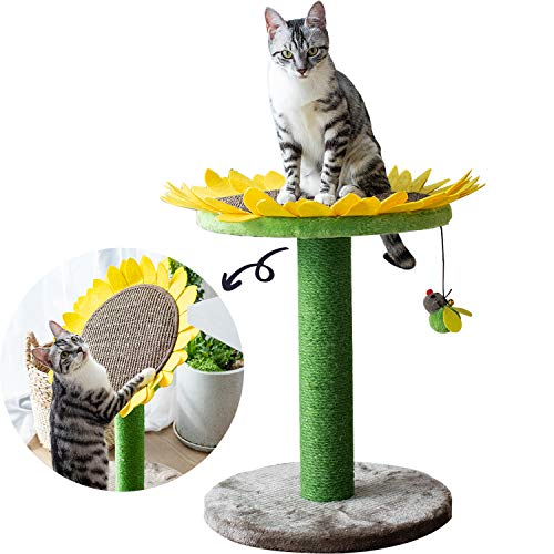 Catry, Cat Tree Bed With Scratching Post With Sisal Covered Climbing Activity Tower, Natural Jute Fiber 2 In 1 Scratching Post And Bed, Best Holiday Idea Gift