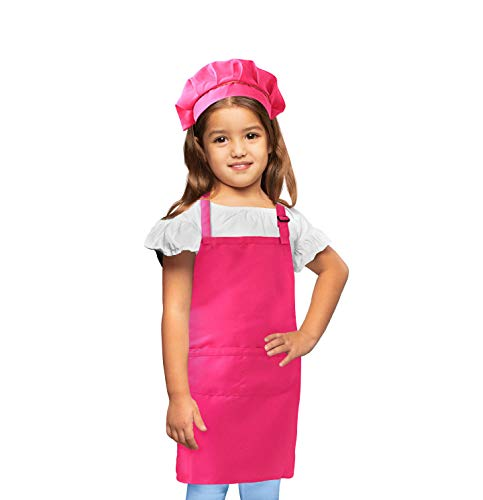 Chef Costume For Kids, Chef Hat And Apron Set For Children, Chef Baker Costume For Girls And Boys, Adjustable Hat And Kitchen Bib For Cooking, Baking, Best Gift For Girls Ages 5 To 12, Large,pink