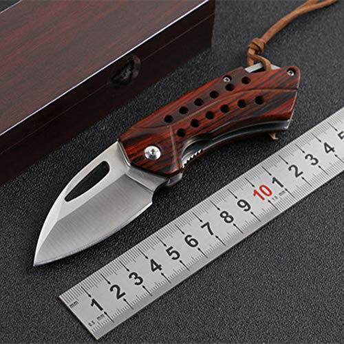 D2 Blade Pocket Knife – Edc Sharp Folding Free.wolf Knife With Rosewood Handle And Pocket Clip For Men – Best Knife For Hiking Camping Fishing Edc Outdoor Wildlife Tools