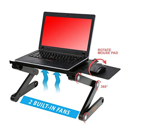 """Desk York Adjustable Laptop Stand Use In Bed Recliner/sofa Best Gift For Friend Men Women Student Couch Lap Tray Aluminum Table For Computer 2 Built In Fans Mouse Pad&usb Cord Up To 17"""" Black"""