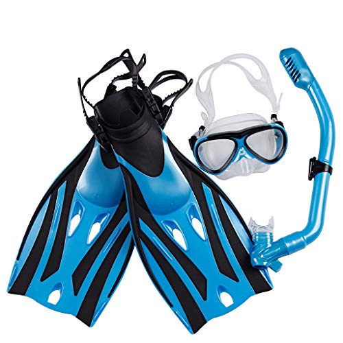 Dimpleya Mask Fin Snorkel Set With Kids Snorkeling Gear Panoramic View Diving Mask Watertight And Anti Fog Lens For Best Vision Trek Fin Dry Top Snorkel For Lap Swimming,blue,s/m