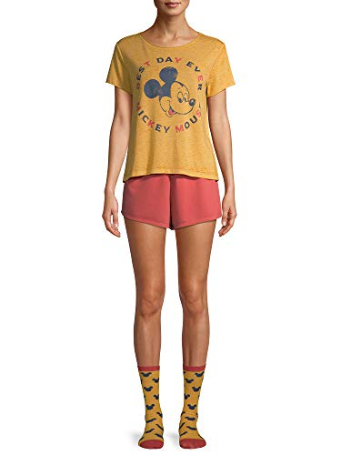 Disney Women's Mickey Mouse Best Day Ever 3 Piece Pajama Set, (size 3x, Gold/red)