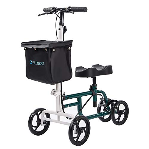 Elenker Best Value Knee Walker Steerable Medical Scooter Crutch Alternative With Dual Braking System White+green