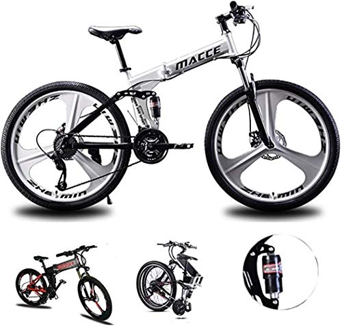 Folding Mountain Bike, 26 Inch Wheels, 21/24/27 Speed Mountain Trail Bicycle High Carbon Steel Outroad Bicycles, Bicycle Full Suspension gears Dual Disc Brakes Best Equipped For Adult Men Women