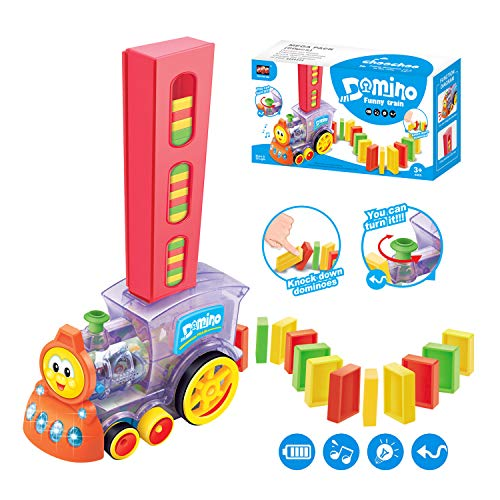 Fugz Toys Gifts For 3 8 Year Old Boys, Kids Domino Train Toys Set, Domino Blocks And Stacking Toys, Great Gift Toys For Girls And Boys Best For 3, 4, 5, 6, 7, 8 Year Olds.
