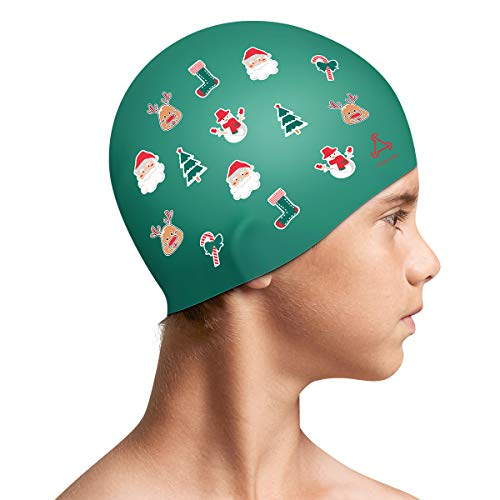 Funown Christmas Kids Swim Caps For Kids, Children, Boys And Girls Aged 2 8, Baby Waterproof Bathing Caps For Long And Short Hair, Best Christmas For Kids