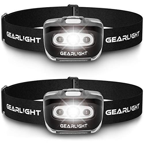 Gearlight Led Headlamp Flashlight S500 [2 Pack] Running, Camping, And Outdoor Headlamps Best Head Lamp With Red Safety Light For Adults And Kids