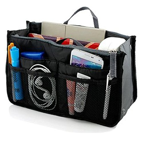 Go Beyond (tm) Makeup Organizer Bag, Travel Compartment Handbag With 13 Inserts Holder, Best For Coupon And Make Up Accessories Large Liner Organizing Tote Purse With Hanging Handle (black)