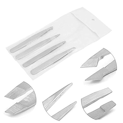 G.s Tweezers Set 4 Pieces Professional Stainless Steel Tweezers With Pouch Best Precision Eyebrow And Splinter Ingrown Hair Removal Tweezer Tip, No Colored & Chemical Free Best Quality
