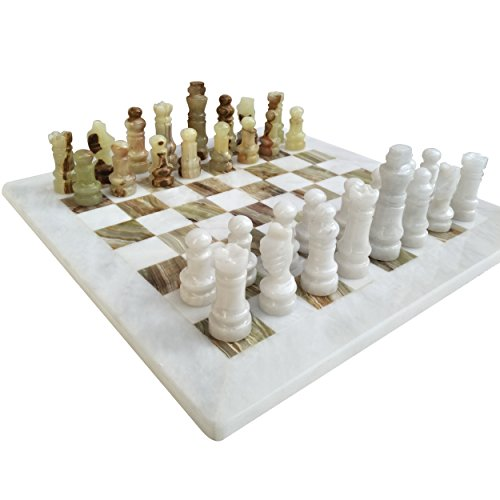 Handmade Staunton White And Green Onyx Marble Chess Board Game Set – Best Board Games For Home Décor Gifts – Suitable For Table Décor Non Go Board Game Non Checker Board Game