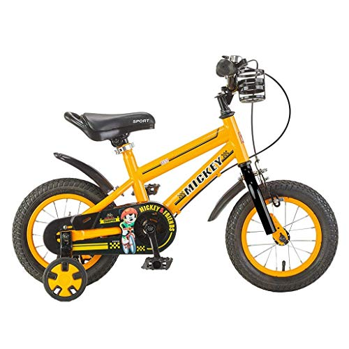 Hdgz Kids' Bikes, Children's Bicycles Baby Bicycles 3 9 Year Old Boys And Girls 12/14/16 Inch Sports Bikes Outdoor Cycling, Giving Children The Best Gift (color : Yellow, Size : 14in)