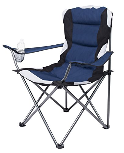 Internet's Best 2 Pack Padded Camping Folding Chair Outdoor Navy Blue Sports Cup Holder Comfortable Carry Bag Beach Quad