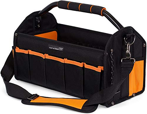 Internet's Best Open Top Electricians Tool Bag Stiff Frame Tote Tool Box 16 Pocket Utility Tool Bin 17 Inch