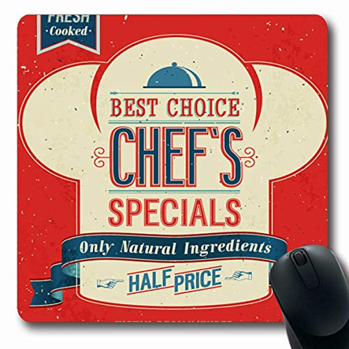 Jamron Mousepad Oblong 7.9x9.8 Inches Vintage Graphic Chefs Specials Poster Place Advertisement Food Decor Worn Drink Traditional Best Non Slip Rubber Mouse Pad Office Computer Laptop Games Mat