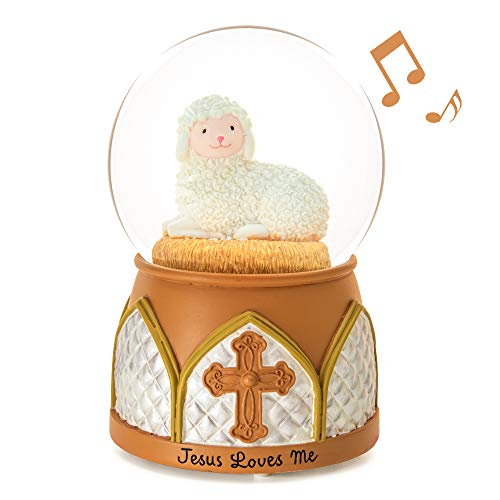 Jesus Snow Globe Music Box Jesus Loves Me Musical Lamb Cross Precious Moments Religious Baptism Best Gift For Boys Girls Wife Girlfriends Kids Friend Baby Birthday Home Room Decor