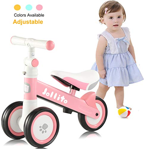 Jollito Adjustable Baby Balance Bike For 10 24 Months Girl, Adjustable Handlebars And Seats Toddler Baby Bike, Cute Safe Sturdy Baby Bicycle Riding Toys, Best First Birthday Gifts Pink
