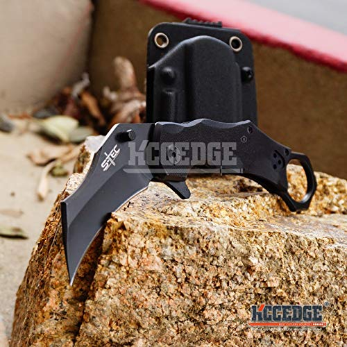 Kccedge Best Cutlery Source Pocket Knife Camping Accessories Tactical Knife Quick Release Folding Karambit With Kydex Sheath Camping Gear Survival Kit Survival Gear Razor Sharp 77022 (sharp)
